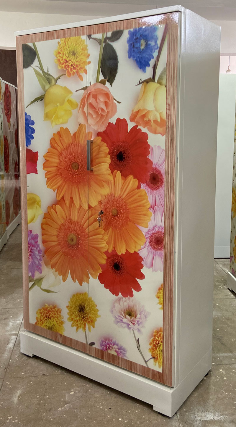 digital uv printed steel bero cupboard multi flowers
