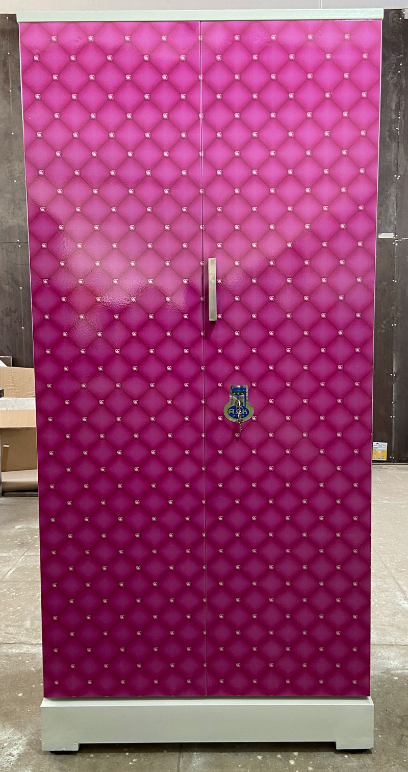 digital uv printed steel bero cupboard pink diamond