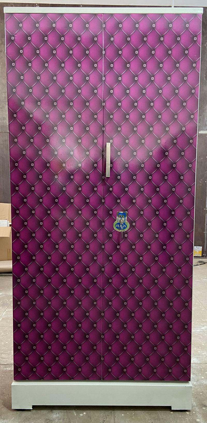 digital uv printed steel bero cupboard purple diamond