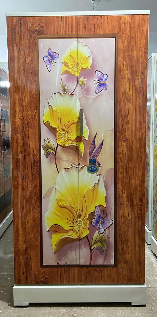 digital uv printed steel bero cupboard rosewood grains yellow flowers