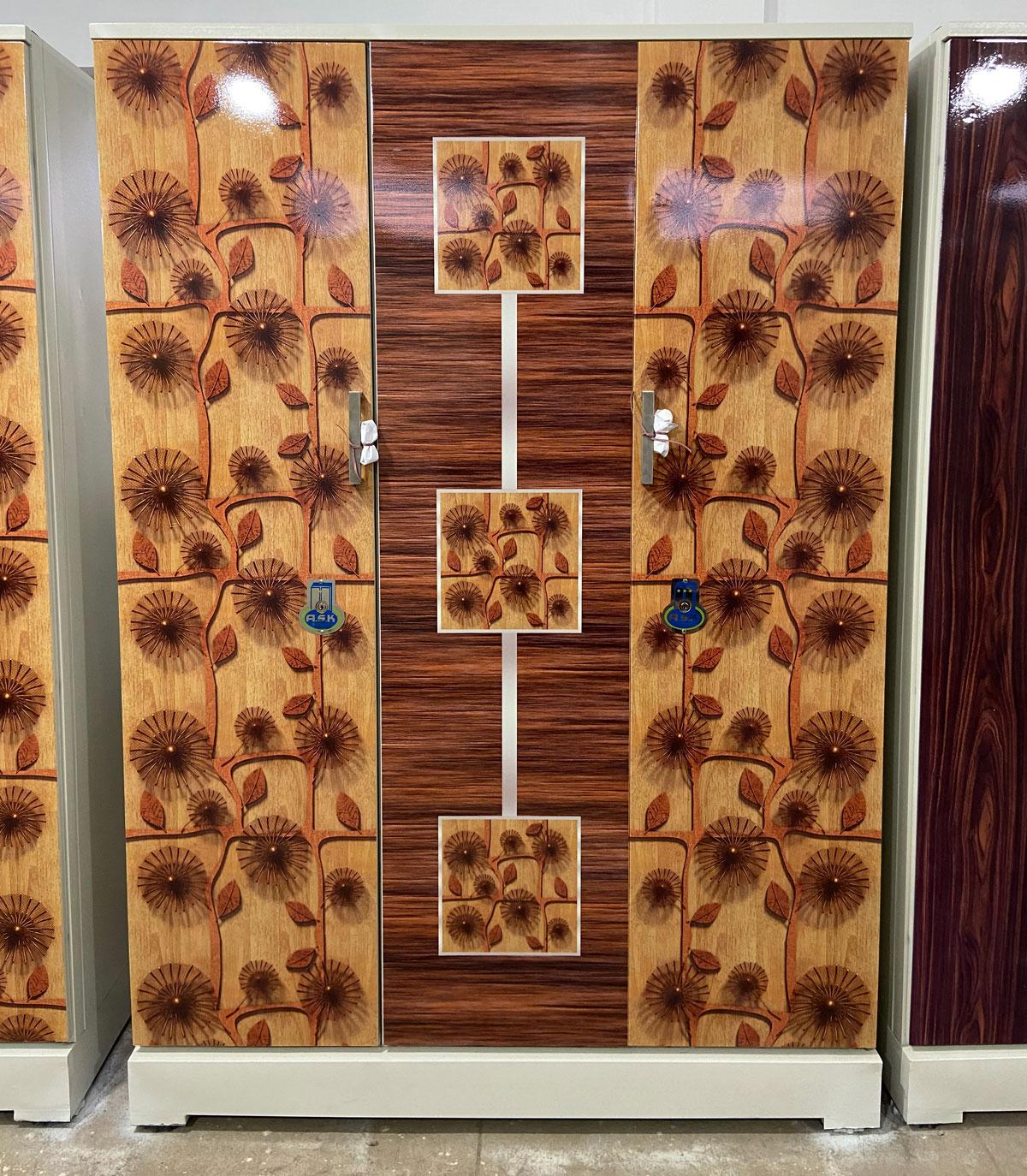 digital uv printed steel bero 3 door cupboard teakwood rosewood art